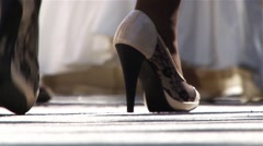 Feet of gentlemen and ladies, pending entry into the church, the religious  Stock Footage