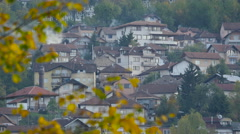Buildings with smoldering chimneys in Sarajevo Stock Footage