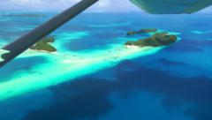 Palau Micronesia Pacific Ocean Islands Atolls Aerial View From Airplane Stock Footage