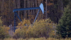 Pump jacks working in a field for oil and gas industry. - stock footage