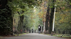 One autumn afternoon, people were walking in the park. The leaves began to turn Stock Footage