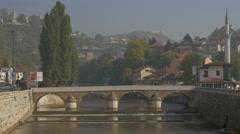 Walking on Seher-Cehajina cuprija bridge, Sarajevo Stock Footage