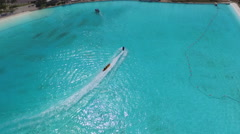 Aerial Shot of Boats in Giant Saltwater Pool - stock footage