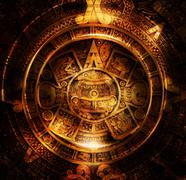 Ancient Mayan Calendar, Cosmic space and stars, abstract color Background - stock illustration