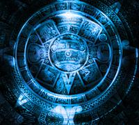 Ancient Mayan Calendar, Cosmic space and stars, abstract color Background Stock Illustration