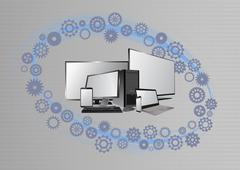 Illustration of tech device with gears graphic Stock Illustration