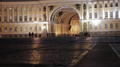 View of Palace square in Saint Petersburg in night. In love couples silhouettes Stock Footage