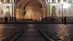 View of Palace square in Saint Petersburg in night. Silhouette of in love couple Stock Footage