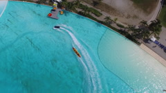 Aerial Shot of Boats in Giant Saltwater Pool Stock Footage