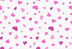 Seamless background pattern with hand drawn textured pink hearts Stock Illustration
