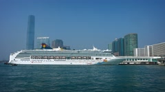 SuperStar Virgo, Star Cruises' flagship, docked in Hong Kong. UltraHD video Stock Footage