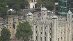 4K Panoramic view Tower of London traffic street Royal Palace car pass historic  Stock Footage