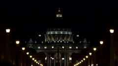 4K Nigh View of Vatican in Rome, Saint Peter's Basilica in Conciliazione Street Stock Footage