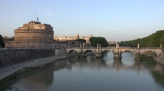 4K Castle Saint Angel's in Rome, Italy, Sunset View of Castel St. Sant'Angelo Stock Footage