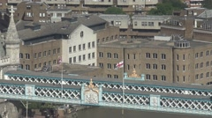 4K Aerial view Tower Bridge detail London landmark famous design coat of arms UK Stock Footage