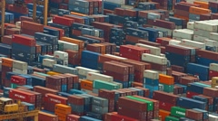Enormous container yard with giant, robotic cranes in Singapore. Video 4k Stock Footage
