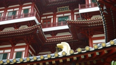 Closeup of the Buddha Tooth Relic Temple's ornate facade. UltraHD video Stock Footage