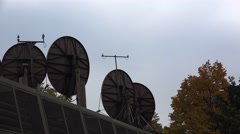 Satellite dishes on the roof. 4K. Stock Footage