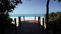 Seychelles beach with blue ocean view. Flying through the trees. Stock Footage