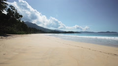 Stock Video Footage of Seychelles beach with blue ocean view. Without people.