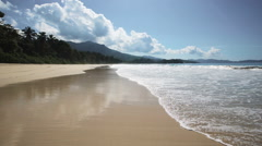 Seychelles beach with blue ocean view. Beautiful waves. No people Stock Footage