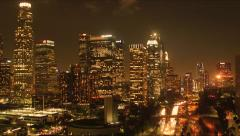Aerial View Down Town Los Angeles Night City Scape Skyline Stock Footage