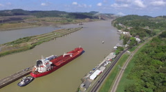 Aerial Footage of Ship in Panama Canal Stock Footage