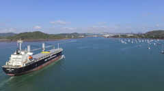 Aerial Footage of Ship Entering Panama Canal Stock Footage