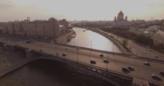 Aerial shot of Cathedral of Christ the Savior and Moscow river Stock Footage