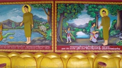 Religious artwork on the walls of Wat Preah Prom Rath. Video 4k Stock Footage