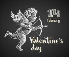 Cupid drawn on chalkboard - stock illustration
