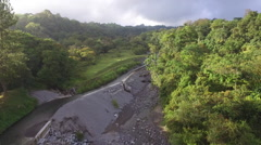 Aerial Shot of Dammed Stream Stock Footage