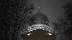 The illuminated Church at night. The foggy weather. Stock Footage