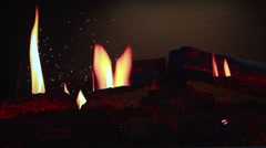 hologram fire projection fireplace modern - stock footage