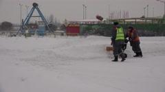 Snow removal snowplow. 4K. Stock Footage