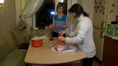 Preparing meat for baking. 4K. Stock Footage