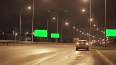 Mototrway with 3 green advert billboard, car with emergency fire. Night Nobody - stock footage