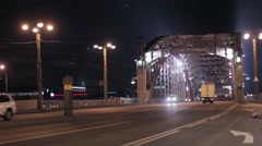View of bridge and motorway in night city. Cars Stock Footage