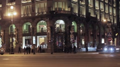 View of corner Zinger company house in Saint Petersburg in night. Soap bubble - stock footage