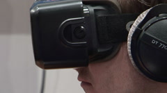 Virtual reality device 3D gaming futuristic Stock Footage