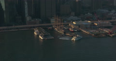 South Street Seaport / Pier 17 under construction / reconstruction in Manhattan Stock Footage