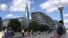 4K Tourist people visit Shard Tower City Hall promenade London downtown icon day Stock Footage