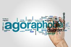 Agoraphobia word cloud concept - stock illustration