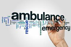 Ambulance word cloud concept - stock illustration