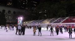 Nighttime skating Bryant Park New York City Stock Footage