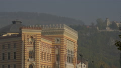 View of National and University Library of Bosnia and Herzegovina, Sarajevo Stock Footage