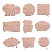 brick wall in bubble speech shape isolated on white - stock illustration