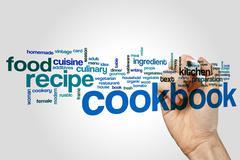 Cookbook word cloud concept - stock illustration