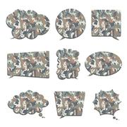 Camouflage in bubble speech shape isolated on white Stock Illustration
