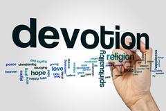 Devotion word cloud concept - stock illustration